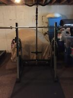 Nautilus Olympic squat rack with Lat attachment