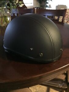 DOT half face black motorcycle motorbike helmet medium