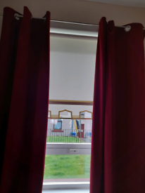 Red lined blackout curtains
