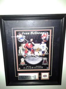 Jean Beliveau (Montreal Canadians)  Framed Autographed Pic w/COA