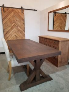 """Rustic Wood Dining Table in Espresso - 78"""""""