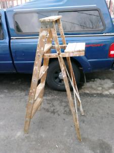 Escabeau vintage en bois antique 4 marches relooking deco