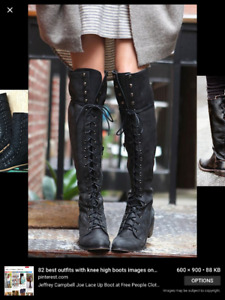 "Brand new ""Free People"" black leather lace up boots"