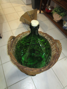 Demi-John 54 litre( green glass in wicker basket)