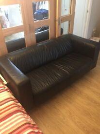 IKEA KLIPPAN BLACK LEATHER SOFA