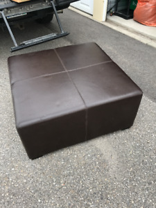 Leather Ottoman, doubles as coffe table.