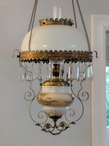 Charles Parker antique hanging oil lamp