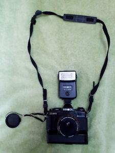 Minolta XG-M Camera with extra Lens, Extension Tube, Flash