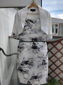 Mother of the bride dress with matching jacket and fascinator - size 1