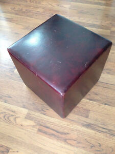 Oxblood Leather Cube Footstool