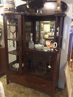 Antique combination oak grained cabinet glass door cupboard