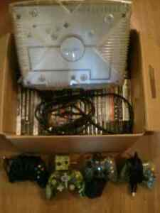 Modded Crystal Xbox with 4 controllers and 47 games