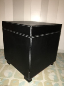 Set of 2 Black Leather-Look Storage Box/End Table