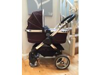 ICandy Peach Pram and Carry cot in Black Jack