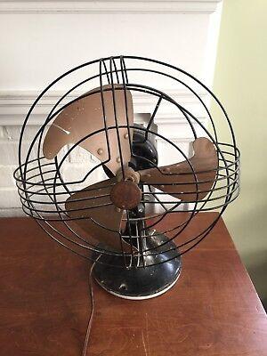 Vintage Ge Oscillating Fan General Electric Heavy Base Black Still Works