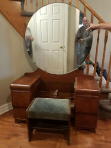 Antique Dressing Table with Mirror and Stool