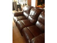 3 seater double reclining leather sofa (DFS)