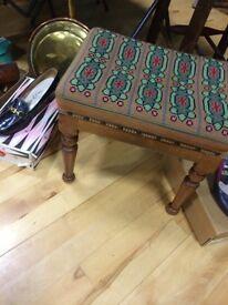Vintage embroidered foot stool
