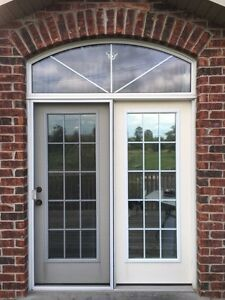 LARGE PATIO/DECK DOORS  WITH SCREEN SLIDER WITH ABOVE WINDOW
