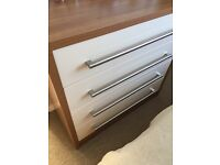 Cream high gloss chest of drawers from Starplan Walnut/Alabaster