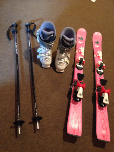 Girls skis 110 and ski boots 260mm fits sizes 2-4 & poles