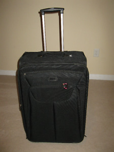 Large Black Super Light Roots Travel Suitcase with Garment Bags