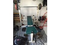Golds gym weight bench, cast iron weights and bars