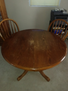 Oak Dining table and 2 chairs