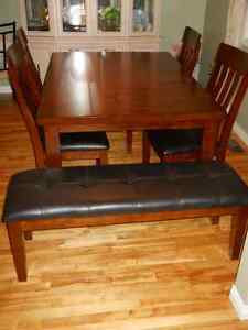 table, chairs and bench (optional) - Ashley Furniture - TRURO