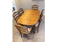 Dining table (extending) & 6 chairs - Antique pine