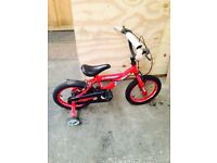 Kids Dunlop Red Bike With Stabilisers