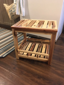 Side table – real wood with grain and stain, dual level shelf