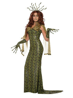 Ladies Medusa Greek Myth Goddess Queen Halloween Fancy Dress Costume Outfit New