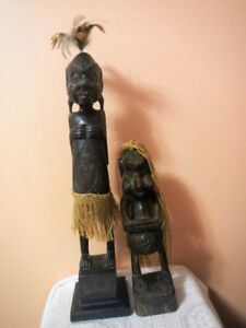 Large Vintage African Tribal Hand Carved Wooden Figures Statues