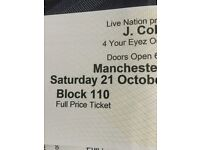 J cole Manchester Seated Ticket