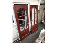 SOLID MAHOGONY FRENCH DOORS WITH BEVELLED GLASS