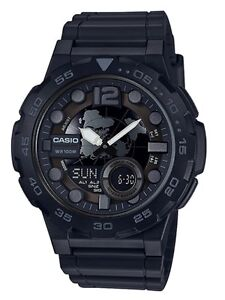 Casio-Watch-AEQ100W-1BV-Telememo-3D-Dial-All-Black-Ivanandsophia-COD-PayPal