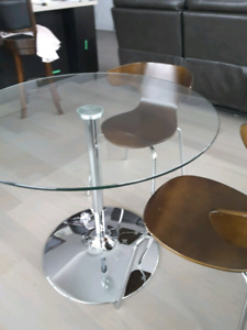 Glass Pedestal table and chairs