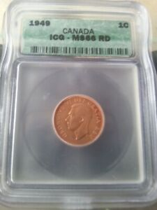 CHARITY SALE -1949 1 CENT CANADA, MS66 - ICG - CATALOG: $1080.00