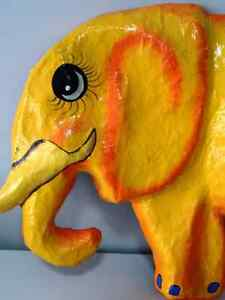 YELLOW ELEPHANTS ANYONE papier-mâché HAITI fabulous BABY'S ROOM Cambridge Kitchener Area image 2