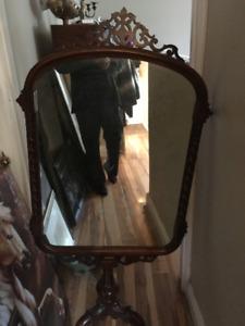 Antique Walnut Floor Standing Mirror