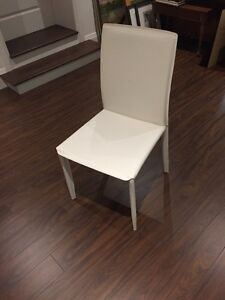 6 EQ3 White Leather Dining Chairs