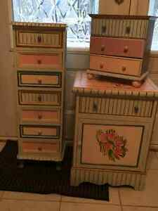 3 PIECE NIGHT TABLE, PLUS TWO DRAWER CABINETS