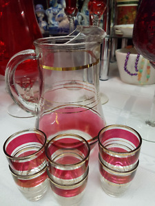 Vintage Mid-Century Ruby Red Iridescent Pitcher & 6 glasses