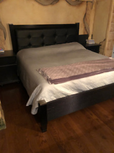 Bed and Frame made from Solid Wood and Leather  for $550