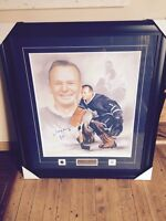 johnny bower incredible signed authentic framed photo in package