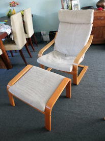Ikea Poang chair and matching foot rest