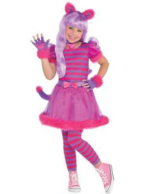 Cheshire Cat Costume Kids (Girls Cheshire Cat Costume Childs Alice Animal Fancy Dress Book Week Day)