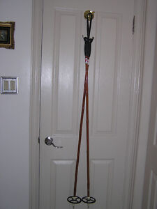 Classic Bamboo Cross Country Ski Poles With Grip Handles & Loops