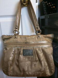 Authentic Coach Poppy Gold Story Patch Glam Tote